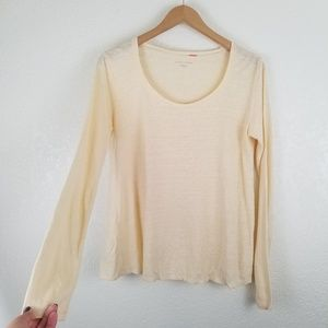 Eileen Fisher Ivory  LINEN Long Sleeve Blouse A5